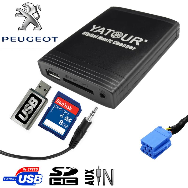 Prise adaptateur interface usb mp3 peugeot 106 206 206cc - Cablage prise usb ...