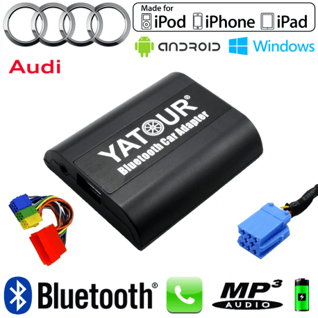 Interface Kit mains libres Bluetooth, streaming audio et recharge USB AUDI - connecteur 8pin